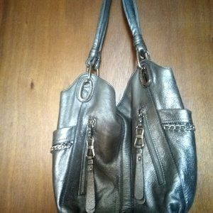 B Makowsky Purse, Silver Purse, Genuine Leather